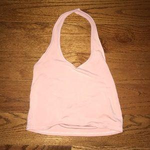 Pink halter crop top